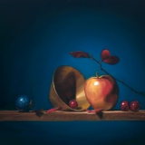apples grapes and brass | 16″ x 20″ oil on canvas