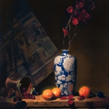 white and blue vase with oranges | 36″ x 24″ oil on canvas